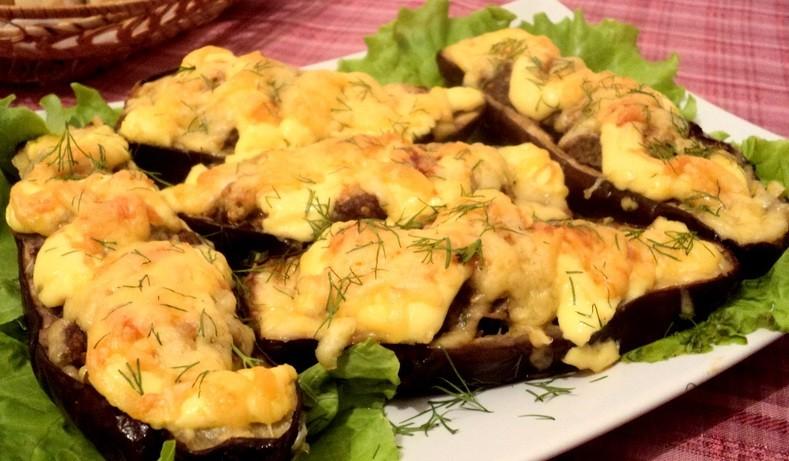 Баклажаны запеченные с фаршем и сыром