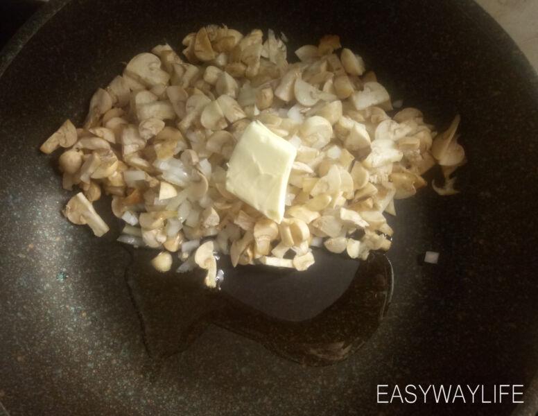 Подготовка грибов с мясным фаршем для запеченных перцев рис 1