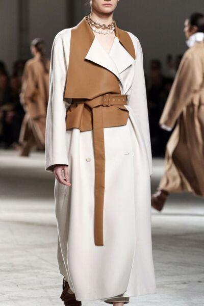Сочетание разных фактур и тканей в женском пальто рис 2