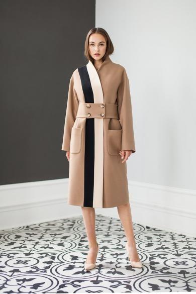 Сочетание разных фактур и тканей в женском пальто рис 5