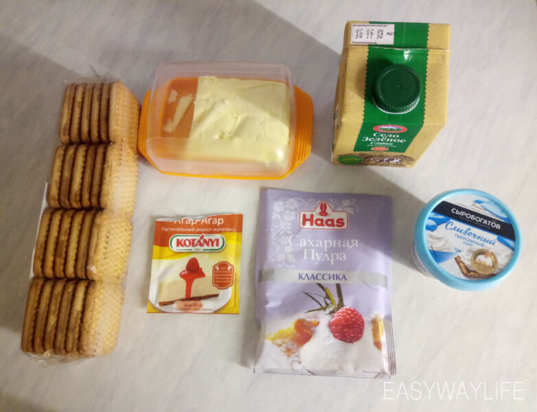 Рецепт чизкейка без выпечки с печеньем