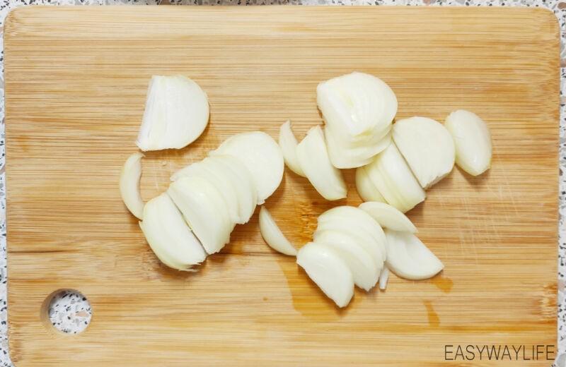 Приготовление ароматного лукового масла для корейской моркови рис 1
