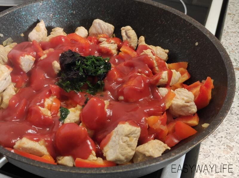 Подготовка овощей и тушение их вмете с мясом индейки рис 2
