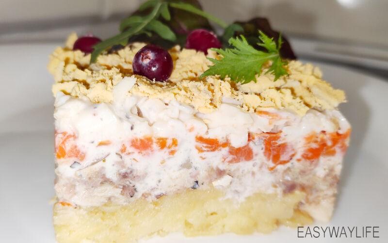 Сборка салата мимоза рис 3