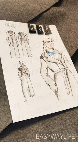 Пошив пальто, аппликация и вышивка