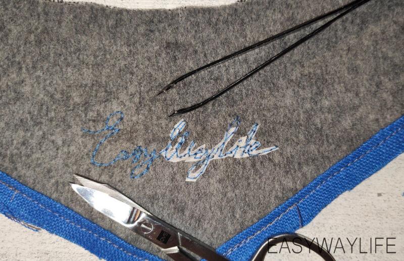 Эскиз и вышивка надписи на обтачке горловины пальто рис 2