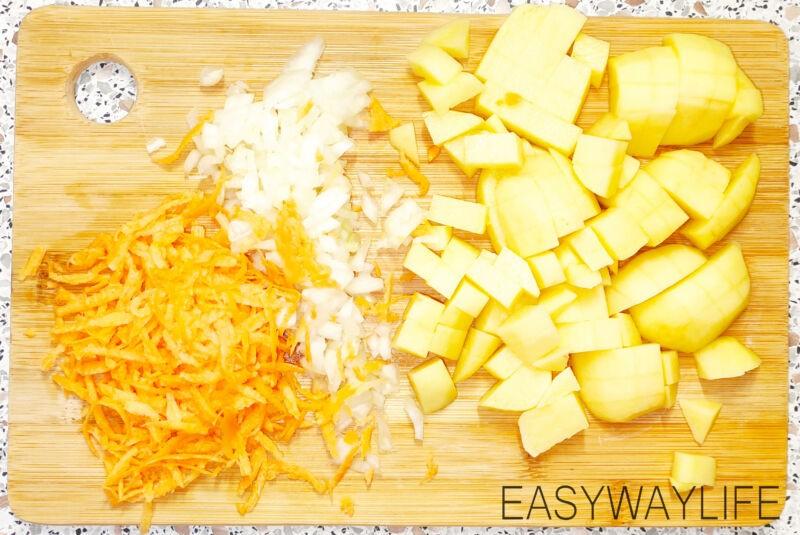 Подготовка овощей для супа из тунца рис 1