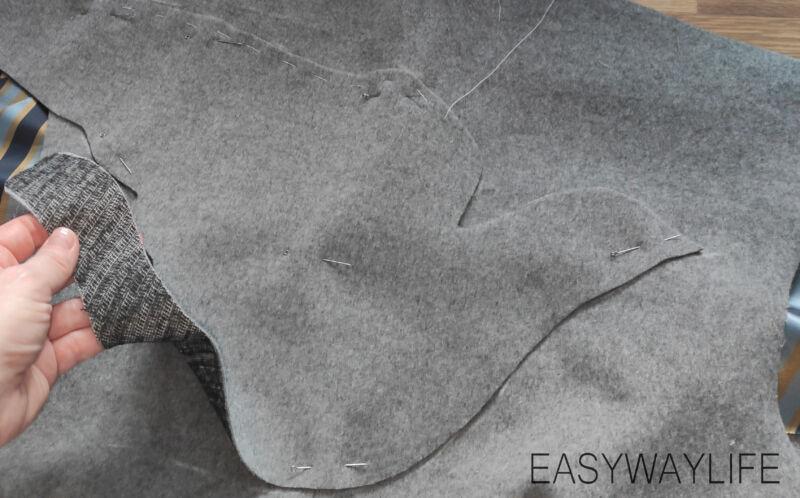 Намётка и притачивание аппликации на детали спинки пальто рис 1