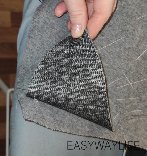 Намётка и притачивание аппликации на детали спинки пальто рис 2