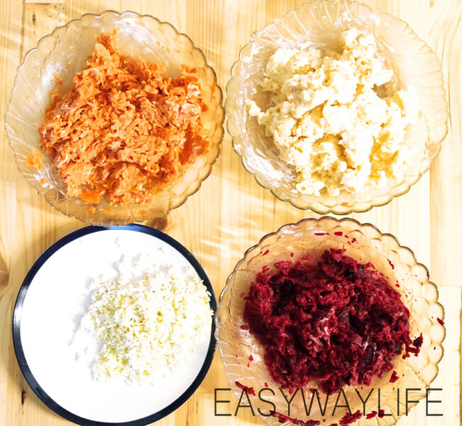 Подготовка овощей для ролла селедки под шубой рис 4