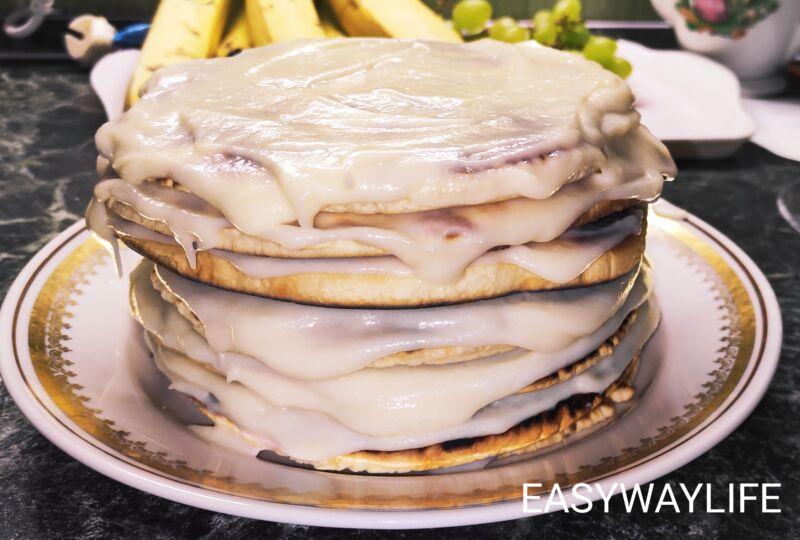 Сборка торта на сковороде с заварным кремом рис 1