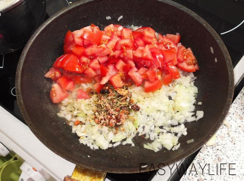 Подготовка овощей и риса для ленивых голубцов рис 4