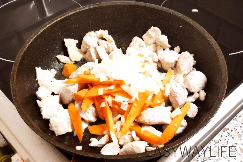 Смешивание продуктовдля индейки с перцем и баклажаном рис 1