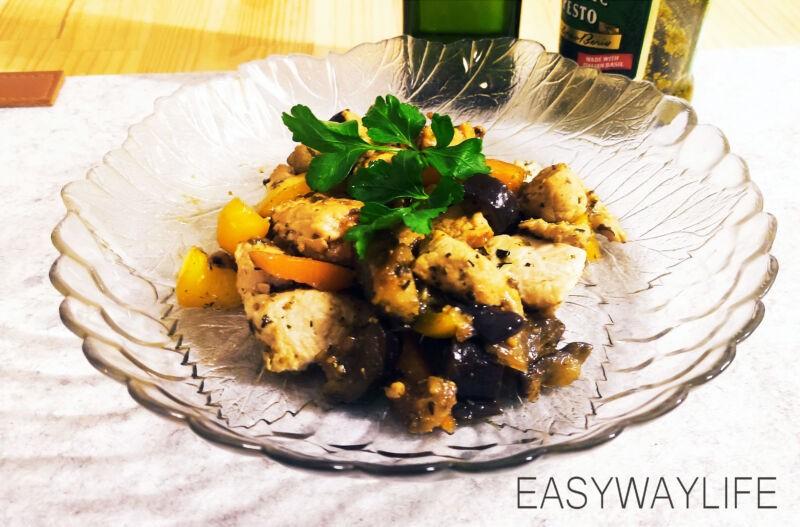Смешивание продуктовдля индейки с перцем и баклажаном рис 5