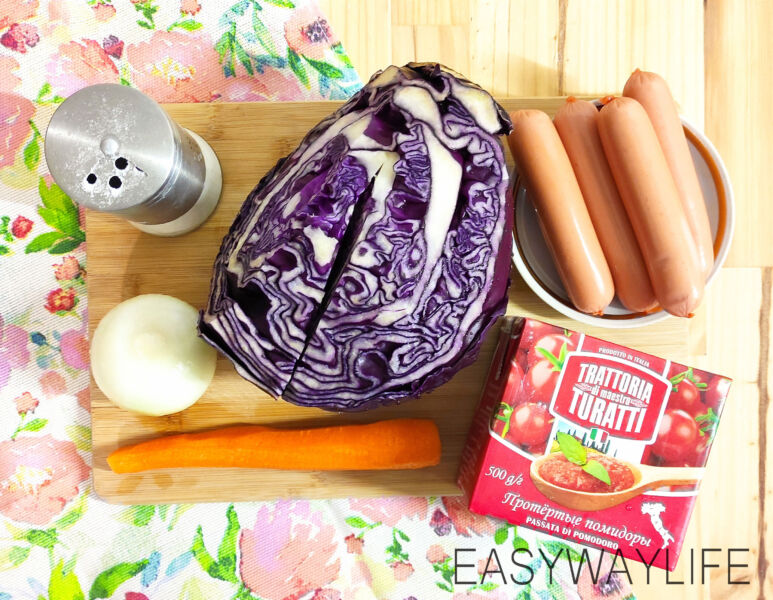 Рецепт тушёной капусты с сосисками