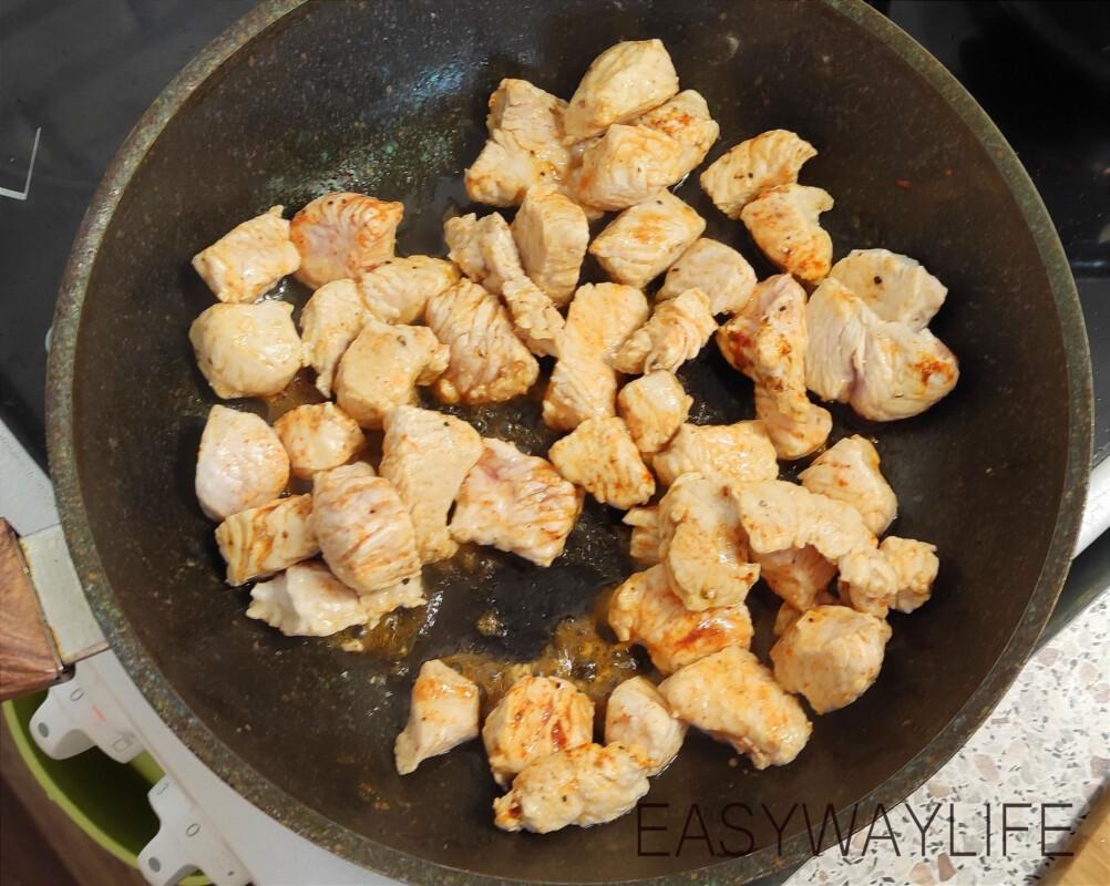Подготовка продуктов для тушения индейки со шпинатом рис 3