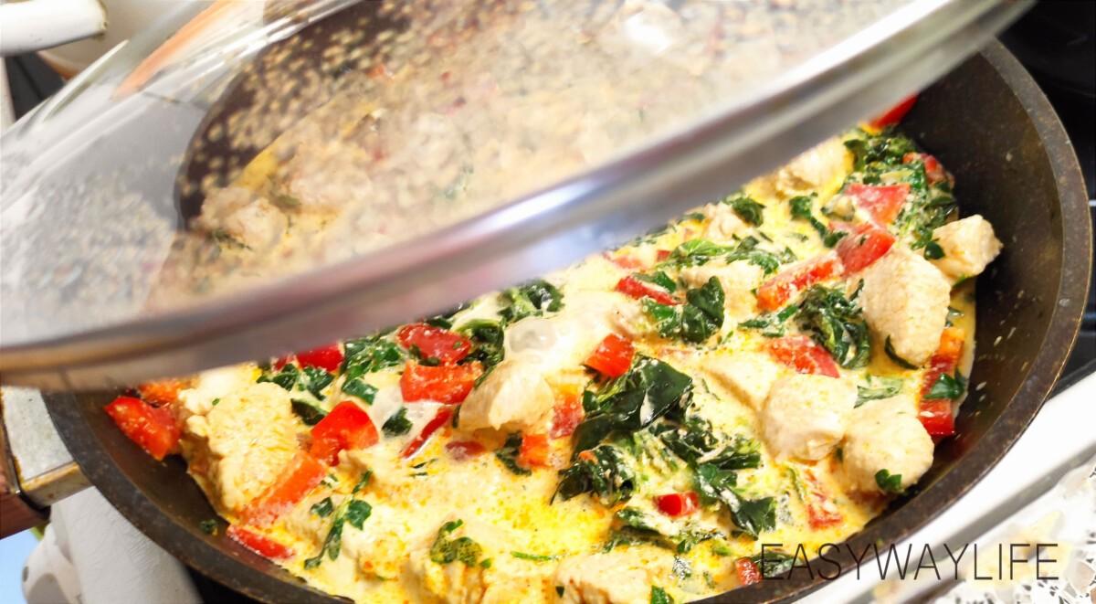 Тушение индейки со шпинатом и перцем рис 2