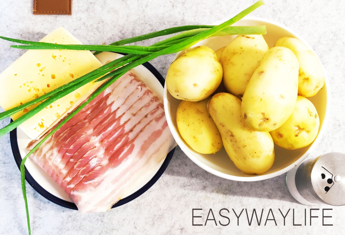 Гармошка из картофеля с беконом и сыром