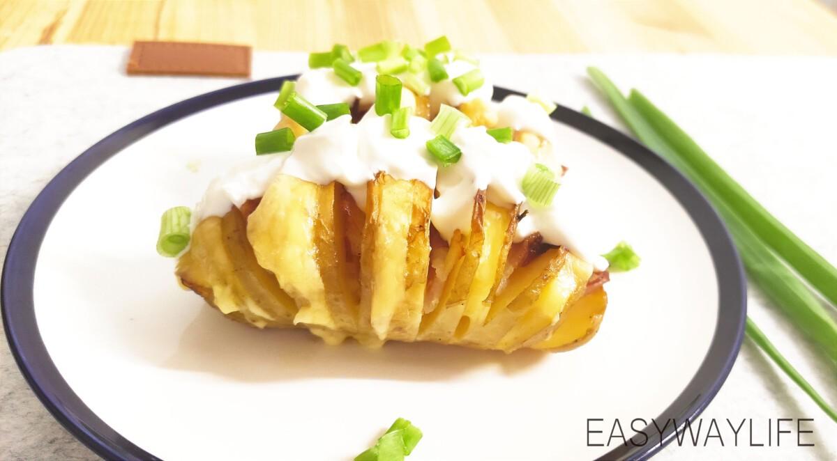Начинка и запекание гармошки из картофеля рис 4