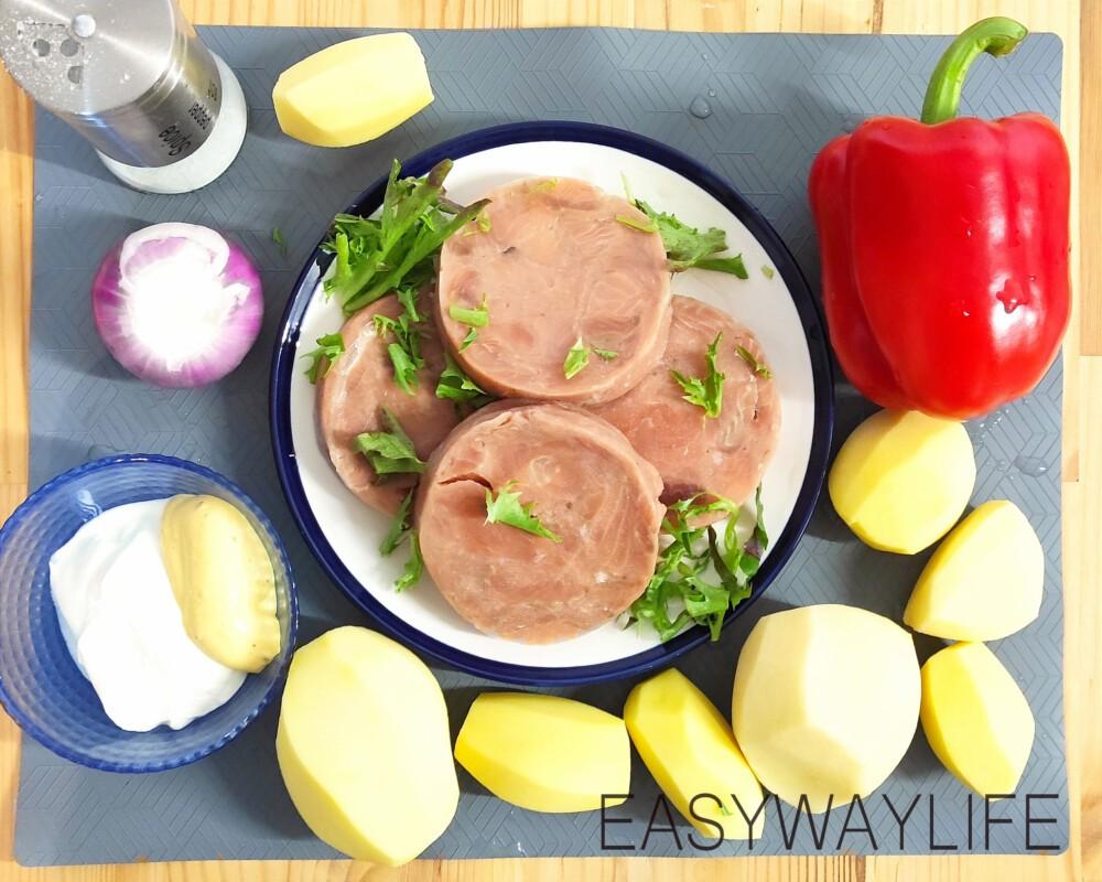 Жареный картофель с горбушей