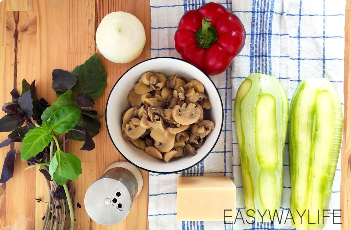 Бочонки из кабачков с грибами