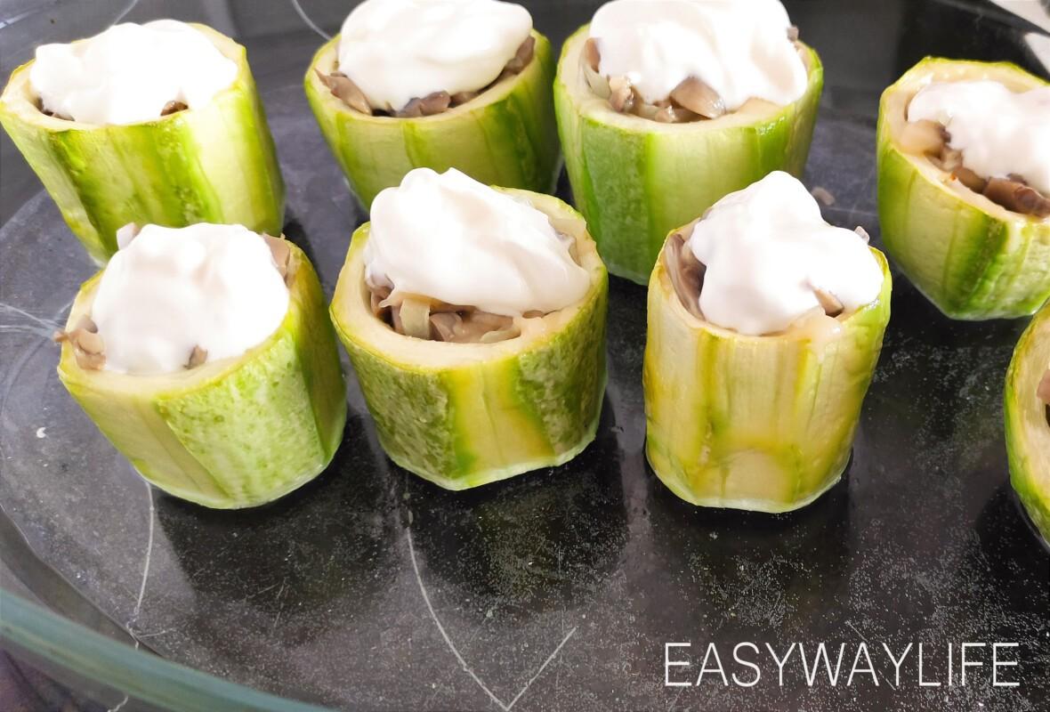Запекание бочонков из кабачков с грибами рис 2
