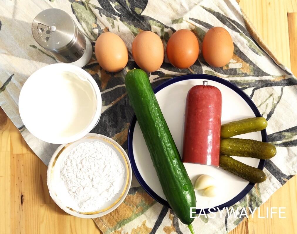 Салат с яичными блинами